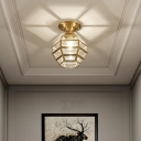 Sphere-Like Corridor Ceiling Light Traditional Clear Glass 1 Bulb Gold Semi Mount Lighting