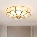 Frosted Glass Gold Ceiling Light Floral Country Style Flush Mount Light Fixture for Bedroom