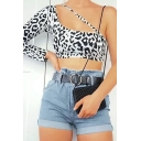 Novelty Womens Tee Shirt Leopard Skin Pattern Cut-out Cropped One Shoulder Slim Fit Long Sleeve T-Shirt