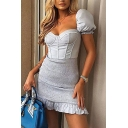 Gorgeous Womens Dress Solid Color Puff Sleeve Sweetheart Neck Pintuck Stringy Selvedge Mini Sheath Dress