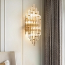 Layered Wall Mount Lighting Modern Clear Rectangular-Cut Crystals Hallway Sconce Lamp