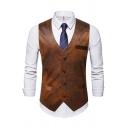 Mens Vintage Tie Dye Print V-Neck Sleeveless Button Front Slim Fit Brown Waistcoat Vest