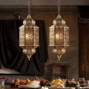 Turkish Lantern Hollowed-out Pendant Lighting Single-Bulb Metal Hanging Lamp in Bronze