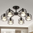 Iron Black Finish Chandelier Hexagonal Wire Cage Industrial Style Pendant Ceiling Light