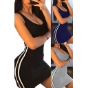 Trendy Women's Bodycon Dress Contrast Stripe Pattern Scoop Low Neck Sleeveless Slim Fitted Mini Bodycon Dress