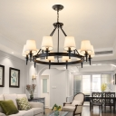 Circular Metal Chandelier Pendant Light Vintage Living Room Drop Lamp with Cone Shade