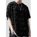 Boys Chic T Shirt Distressed Decoration Short Sleeve Crew Neck Loose Fit Tee Top in Black