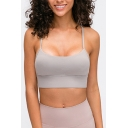 Trendy Women's Tank Top Solid Color H Back Scoop Neck Spaghetti Strap Sleeveless Slim Fitted Cami Top