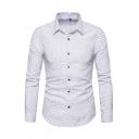 メンズレジャーポルカドットプリント長袖シングルブレストホワイトデイリーシャツ