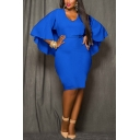 Womens Plus Size Trendy Simple Plain V-Neck Batwing Sleeve Midi Pencil Dress Cape Dress