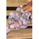 Sexy Womens Jumpsuit Allover Angel Print Long Sleeve Off the Shoulder Ankle Skinny Jumpsuit in Beige