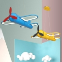 Metallic Airplane Chandelier Lighting Kids LED Pendant Light Fixture for Playroom
