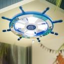 Wooden Rudder LED Flush Ceiling Light Kids 8-Bulb Flushmount Lighting for Bedroom