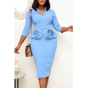 Ladies Elegant Dress Solid Color 3/4 Sleeve Lapel Neck Belted Patchwork Mid Bodycon Dress