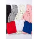 Fancy Hoodie Solid Color Long Sleeve Drawstring Pouch Pocket Relaxed Fit Hoodie for Guys
