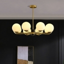 Globe Chandelier Pendant Lighting Contemporary Opal Glass Living Room Hanging Light