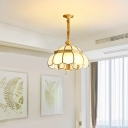 Frosted Glass Scalloped Chandelier Pendant Light Vintage Living Room Hanging Light in Gold