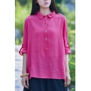 Leisure Womens Shirt Linen Roll Up Sleeve Polo Collar Relaxed Fit Solid Plain Shirt