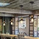 Cone Iron Pendant Light Loft Style Single-Bulb Dining Room Hanging Light Fixture in Black