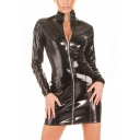 Chic Womens Dress Leather Long Sleeve Stand Collar Zipper Front Mini Sheath Dress in Black