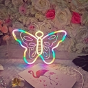 Cartoon Neon Shaped Night Light Plastic Girls Bedroom LED Wall Lamp in White for Decoration