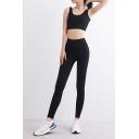 Womens Yoga Co-ords Creative Plain Strap Beauty Back Sleeveless Scoop Neck Cropped Bra Skinny Fitted Leggings Set