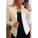Casual Women's Jacket Solid Color Notched Lapel Collar Open Front Long Sleeve Regular Fitted Jacket