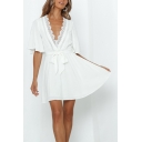Gorgeous Ladies Flared Short Sleeve V-neck Mini Pleated A-line Dress in Whit