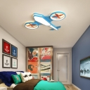 Plane Childrens Bedroom Ceiling Light Metal LED Creative Flush Mount Light Fixture