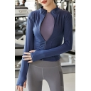 Workout Womens Jacket Plain Color Quick Dry Zipper Fly Skinny Fit Long Sleeve Stand Collar Yoga Jacket
