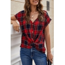 Popular Womens Shirt Plaid Printed Short Sleeve V-neck Button Up Twist Hem Button Up Loose Fit Shirt Top in Red