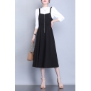 Womens Fashionable Dress Zip Up Square Neck Mid A-line Tank Dress in Black
