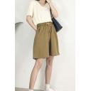 Womens Shorts Creative Plain Cotton Linen Drawstring Waist Wide Leg Regular Fitted Relaxed Shorts