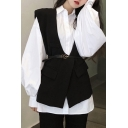 Trendy Women's Shirt Blouse Solid Color Button Fly Turn-down Collar Long Bishop Sleeve Regular Fitted Shirt Blouse