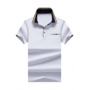 Fancy Mens Polo Shirt Space Dye Colorblock Contrast Trim Pocket Button Short Sleeve Turn down Collar Regular Fitted Polo Shirt
