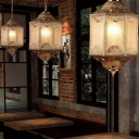 3-Light Water Glass Ceiling Pendant Moroccan Bronze Lantern Restaurant Suspended Lighting Fixture