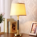 Black and Brass Single Nightstand Lamp Traditional Fabric Tapered Table Light for Living Room