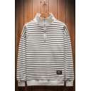 Men's Stylish Half-Zip Stand Collar Classic Striped Print Oversized Loose Sweatshirt