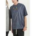 Fashion T-Shirt Plain Washed Panel Dropped Shoulder Crew Neck Loose Fitted Half Sleeve T-Shirt for Men