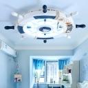 Rudder Shaped LED Ceiling Mount Lamp Mediterranean Wooden 8-Light Childrens Bedroom Flush Light