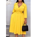 Glamorous Womens Dress Long Sleeve Notched Collar Belted Solid Color Midi A-line Dress