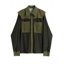 Fashion Womens Shirt Stripe Print Patched Long Sleeve Point Collar Button Up Chest Pocket Loose Fit Shirt Top in Green