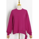 Simple Womens Sweatshirt Plain Long Sleeve Crew Neck Zipper Detail Irregular Hem Relaxed Pullover Sweatshirt
