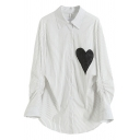 Fashion Womens Shirt Stripe Heart Printed Long Sleeve Point Collar Button Up Curved Hem Loose Long Shirt in White