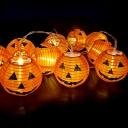 Pumpkin Lantern Solar String Light Contemporary Plastic Courtyard LED Fairy Lighting in Orange
