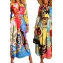 Womens Tribal Shirt Dress Vines Abstract Printed Pleated A-Line Button Decorated Slim Long Sleeve Spread Collar Maxi Dress
