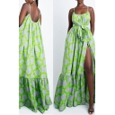 Womens Holiday Slit Dress Circles Printed Panel Hem Pleated Waist-tie A-Line Spaghetti Straps Loose Sleeveless Maxi Dress