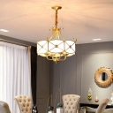 Drum Frosted Glass Panes Chandelier Lighting Antique 4 Heads Dining Room Pendant Light in Gold
