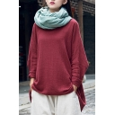 Retro Womens T Shirt Linen and Cotton Long Sleeve Round Neck Relaxed Fit Plain Tee Top