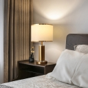 Brass Cylindrical Table Light Traditional Metal Single Bedside Nightstand Lighting with Round Fabric Shade
